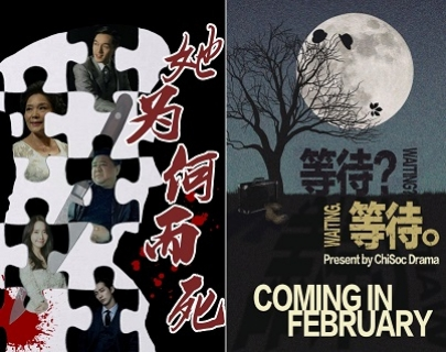 "A split image. On the left is a black image with white puzzle pieces, featuring images of actors and a knife running through the middle. On the right is an image of a tree against a night sky with a full moon in the background. Words read: ""Coming in February"""