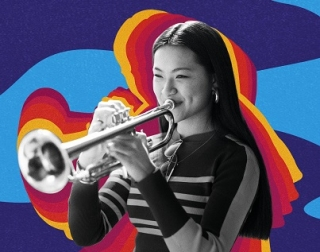 Young girl plays the trumpet in front of a colourful, wavy background.