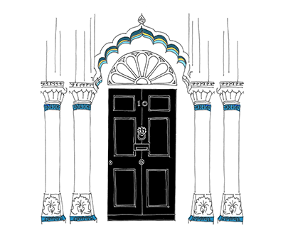 An illustration of the door of 10 Downing Street with asian embellishments around it