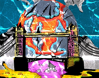 A cartoon of london bridge with the earth and fire behind
