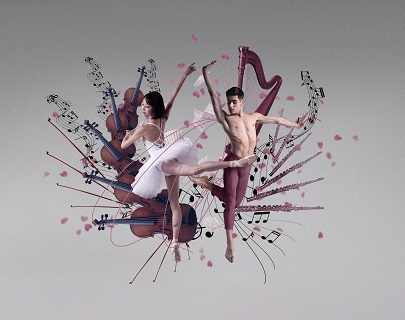Two ballerinas dance in front of images of a harp, violins and music notes