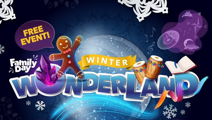 The title 'Winter Wonderland' surrounded by colourful snowflakes and gingerbread men