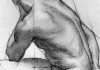 A charcoal sketch of the human body