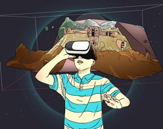 An illustration of a boy wearing a VR headset