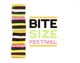 "4 striped, multi-coloured sweets are stacked on top of one another. The words read ""Bite Size Festival""."