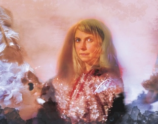 A montage of a blonde woman wearing a sparkly top on a pink background.