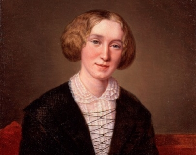 A portrait of a woman in front of a brown background with her head tilted, wearing a white shirt
