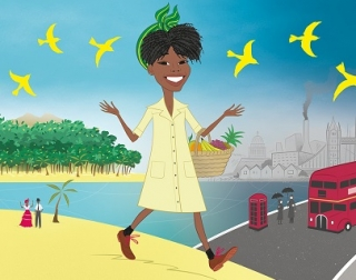 A woman in a yellow dress walks between a bright tropical landscape towards a grey western landscape.