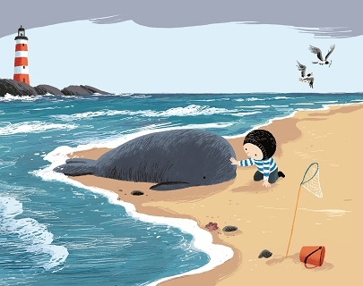 An illustration of a seashore where a small child strokes a little whale that has washed up on the beach.