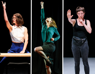 Three images, each showing a woman on stage against a black curtain. Two are holding their hands in the air and one has a finger to her lips.