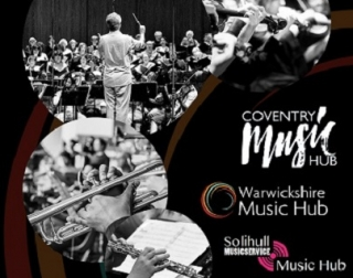 3 black and white images of orchestras and musical instruments, alongside logos for Coventry, Warwick and Solihull Music Hubs.