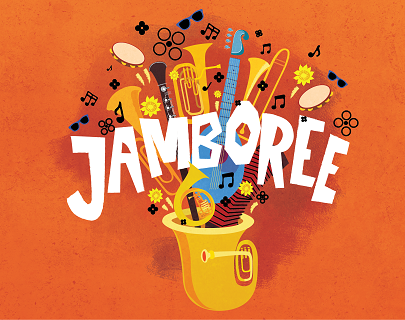 The title Jamboree against an orange background, surrounded by illustrations of musical instruments and notes.