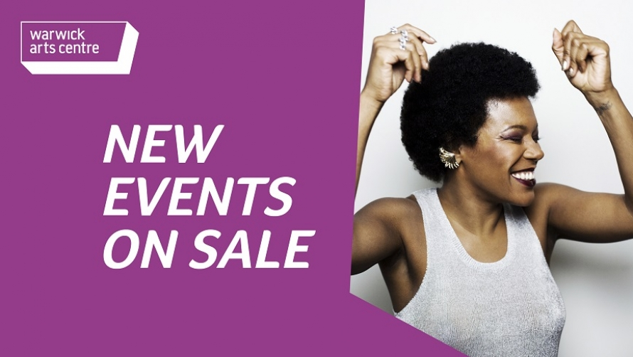 """A purple banner with words saying """"New Events on Sale"""". There is an image of a woman smiling with her eyes closed and her arms in the air."""