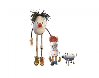 Three egg puppets on a white background