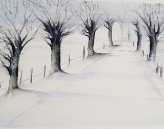 A watercolour painting of trees in snow