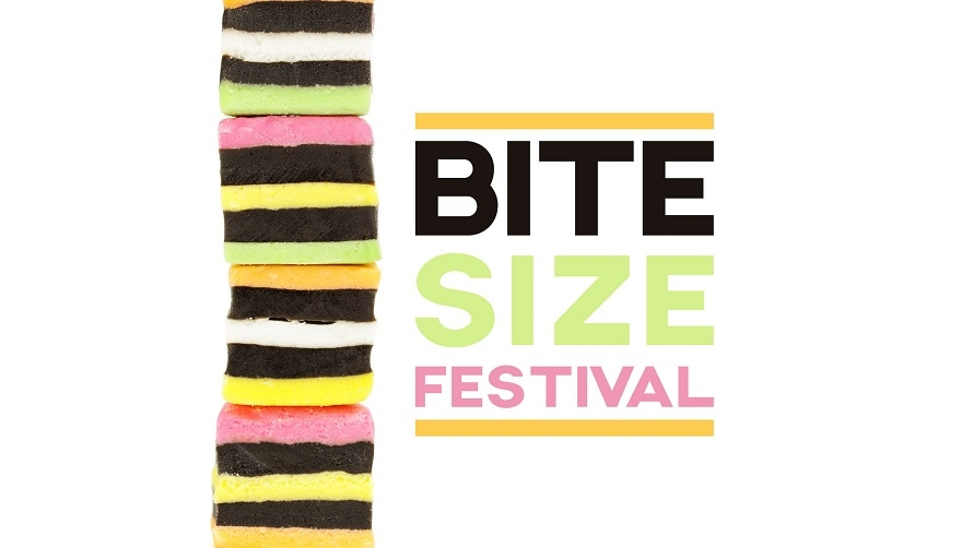 """A stack of multi-coloured sweets next to words that read: """"Bite Size Festival"""""""