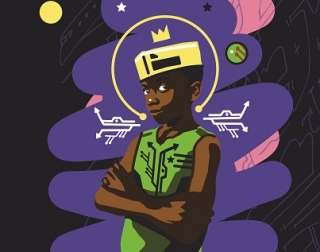 A cartoon of a boy crossing his arms and wearing a crown