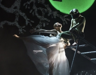 A woman dances in a white dress with a frog on a ladder
