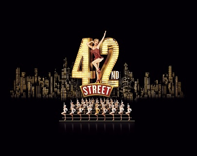 "The skyline of a city at night, with a dancer posing in the words ""42nd Street"" and a chorus of dancers in front of it."