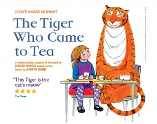 An illustration of a girl sat at a table with a tiger