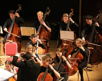 Young people playing cellos and double basses on stage