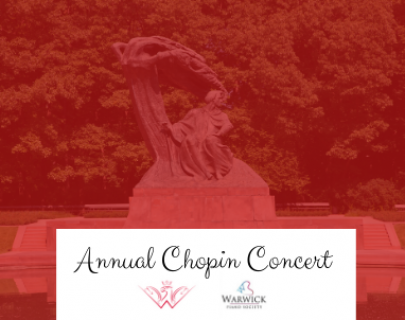 An image of a sculpture with a red filter over the top and a white banner reading Annual Chopin Concert