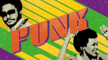 "Illustration. A green, purple and yellow banner with portraits of two musicians and a word that says ""FUNK""."