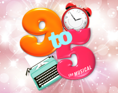 """A pink sparkly background with a typewriter and an alarm clock surround words that say: """"9 to 5 The Musical"""""""