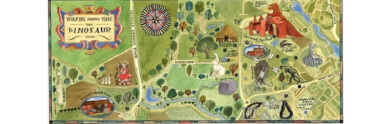 """A hand drawn map of the University of Warwick campus and sculptures that can be found there. The title reads: """"Walking Through Time The Dinosaur Trail"""""""