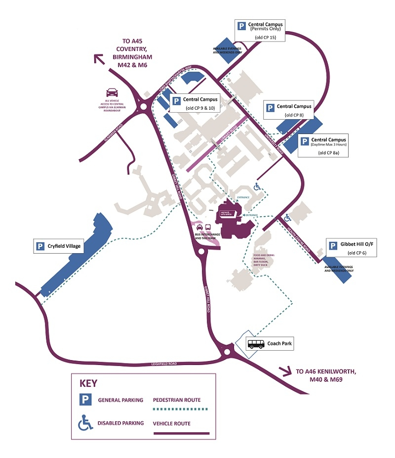 A map of the University of Warwick campus and car parks