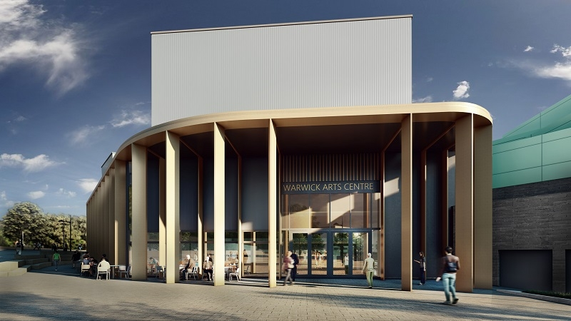 """An artist's impression of Warwick Arts Centre during the day. It shows the outside of a building with beams supporting the roof, with a sign above the glass doors reading """"Warwick Arts Centre"""" and people sitting on cafe chairs and tables outside."""