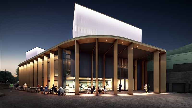 An artist's impression of Warwick Arts Centre during the evening. It shows the outside of a building with beams supporting the roof, lit up, and people sitting on cafe chairs and tables outside.