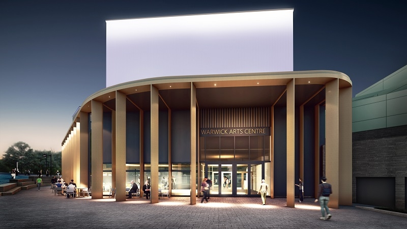 """An artist's impression of Warwick Arts Centre during the evening. It shows the outside of a building with beams supporting the roof, with a sign above the glass doors reading """"Warwick Arts Centre"""" and people sitting on cafe chairs and tables outside. The building is illuminated."""