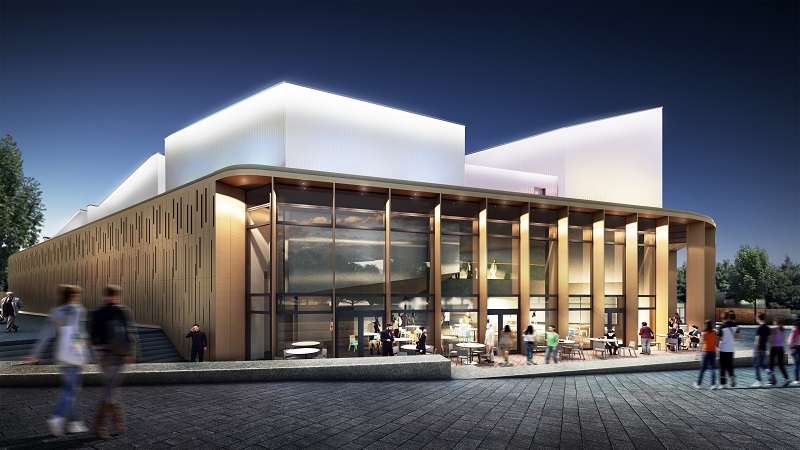 An artist's impression of Warwick Arts Centre during the evening. It shows the outside of a building with beams supporting the roof, with people sitting on cafe chairs and tables outside. The building is illuminated.