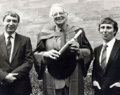 Humphrey Lyttelton after receiving his Honorary Warwick DLitt at Coventry Cathedral in 1987 with Professors Bob Jackson and Don Locke
