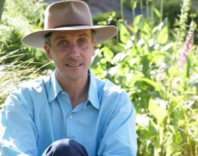 Landscape contractor James Alexander-Sinclair surrounded by plants