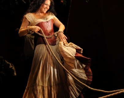 Singer Kirstin Chávez as Carmen on stage