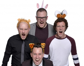 The Noise Next Door ensemble wearing furry animal headbands