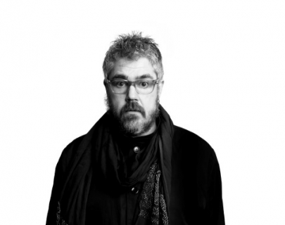 Comedian Phil Jupitus in black and white