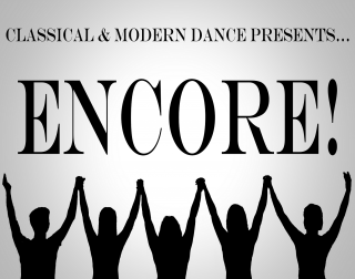 A black and white logo image for Encore
