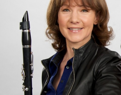 Emma Johnson holding a clarinet