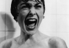 Actress Janet Leigh screaming in the black and white shower scene
