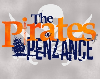 The Pirates of Penzance logo in orange and blue