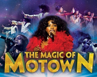 The cast of Magic of Motown singing in costume
