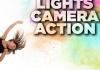 Dancer in black costume and Lights Camera Action logo