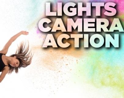 Dancer in black costume and Lights Camera Action logo