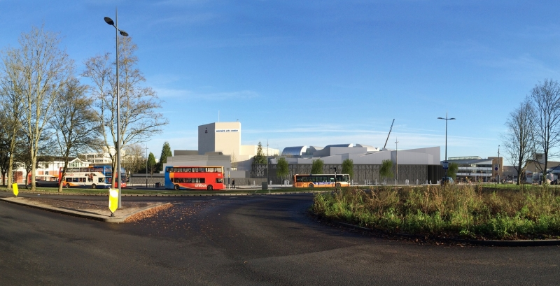 Warwick Arts Centre - Artist's Impression looking onto the bus exchange