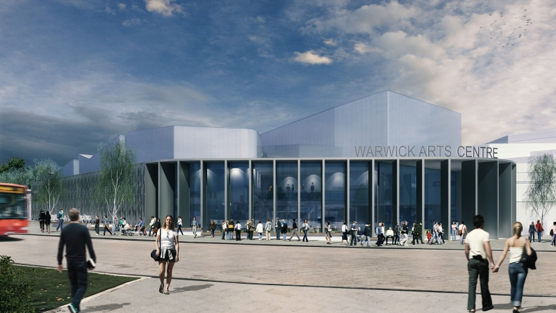 Looking towards Warwick Arts Centre 2020 from the plaza