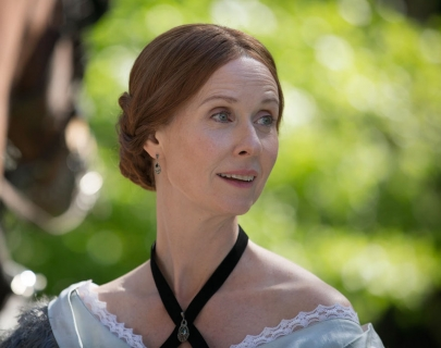 Actress Cynthia Nixon in a 19th Century dress