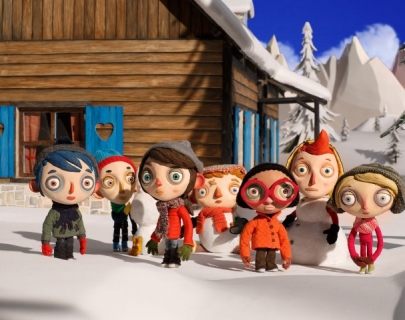 An animation showing children in the snow